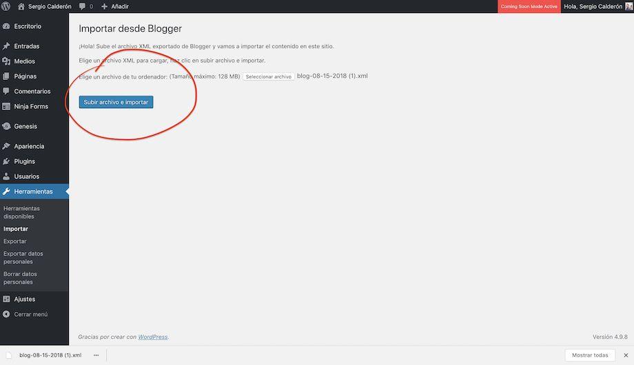 Ejecutar el importador del Blogger en WP