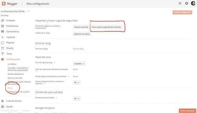 Exportar el contenido de Blogger