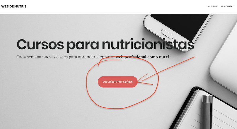 Mi call to action en Web de Nutris