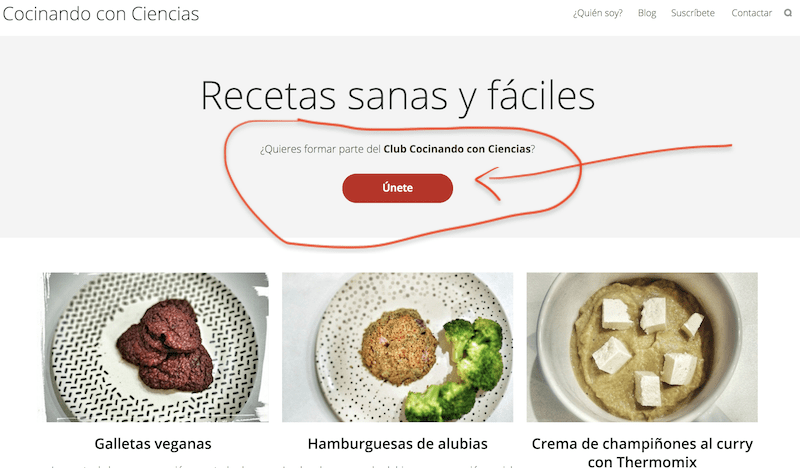 Call to action (CTA) en Cocinando con Ciencias