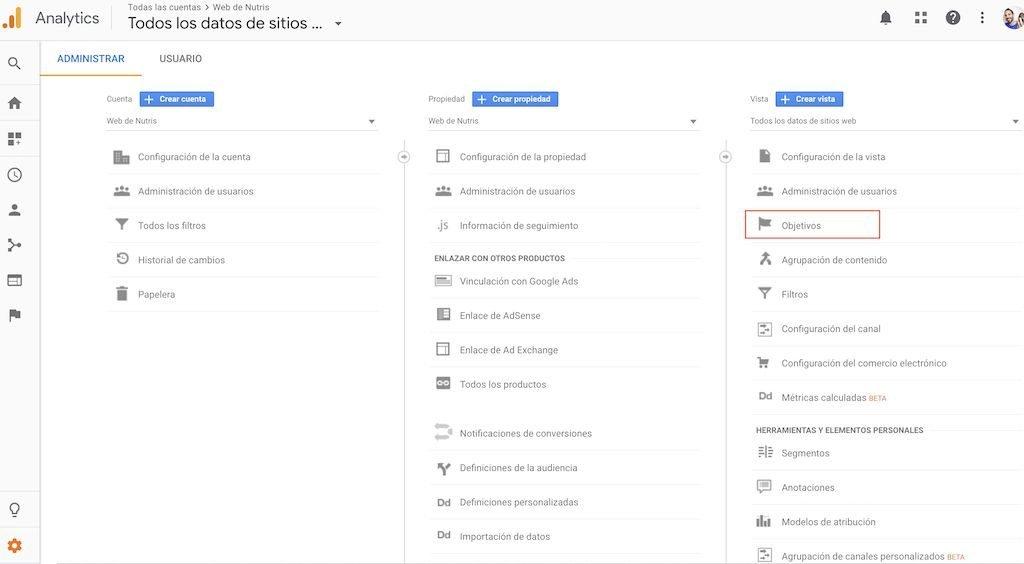 Dónde crear un objetivo en Google Analytics