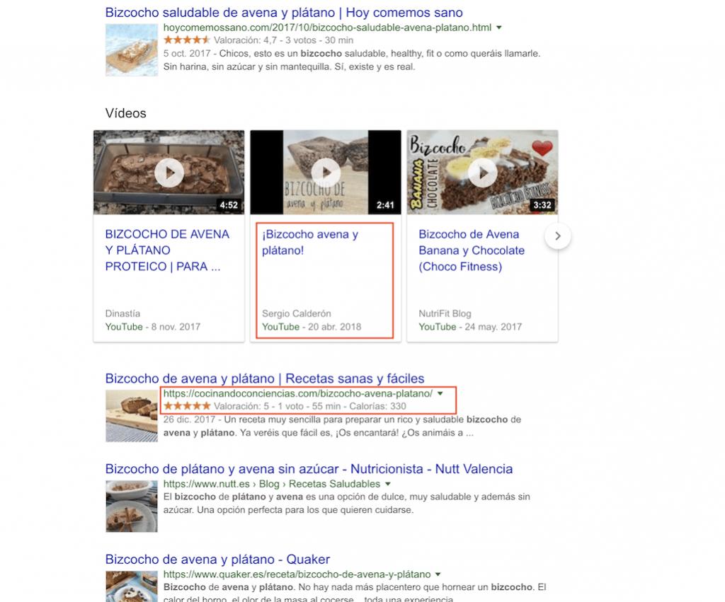 Receta en resultados de búsqueda de Google