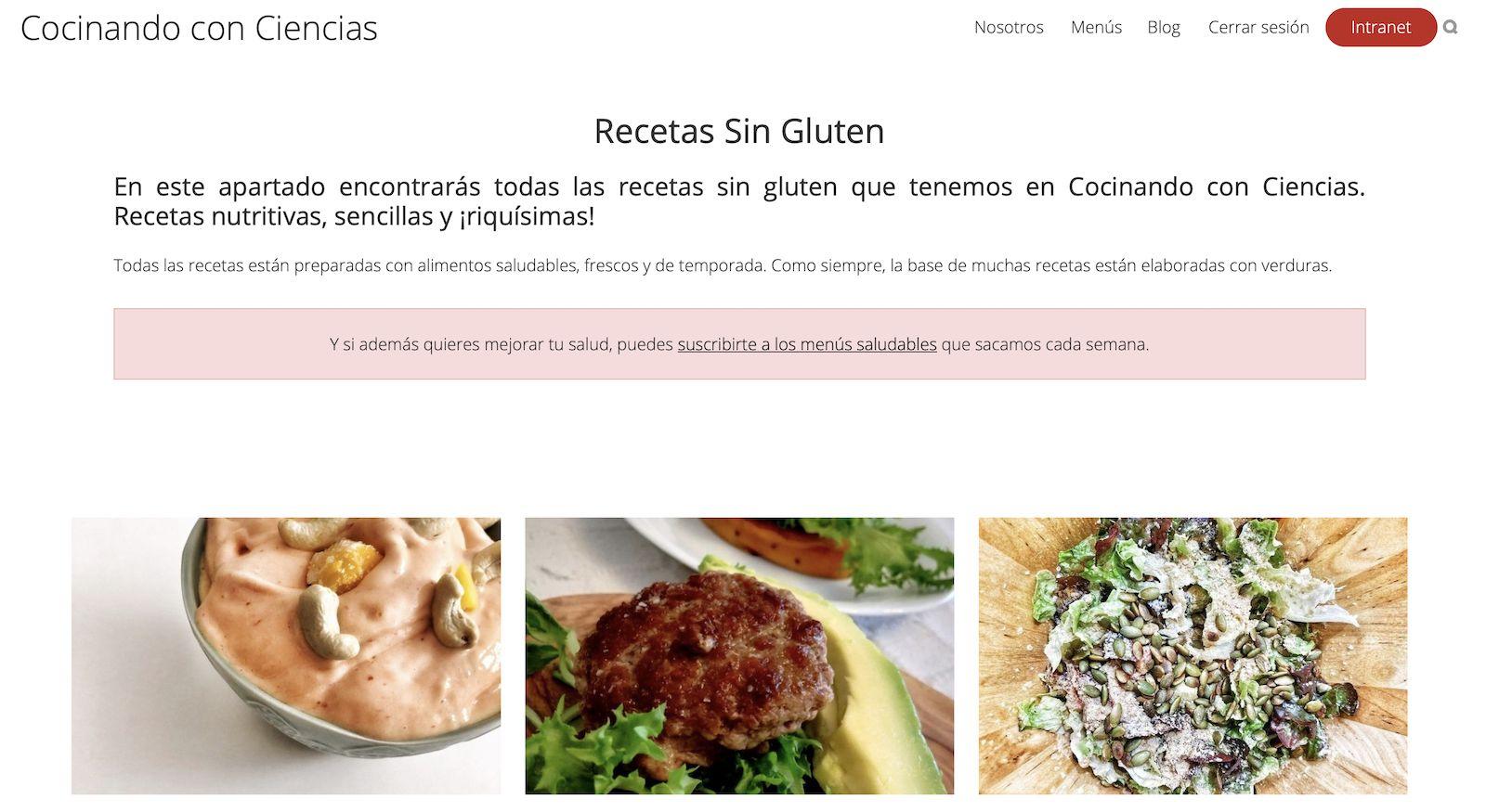 Categoría de Recetas sin Gluten en Cocinando con Ciencias